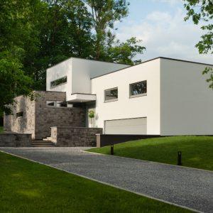 Façade avant construction contemporaine Beaufays