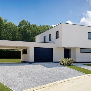 Carport d'une maison contemporaine