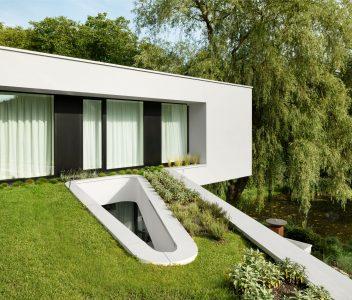 Extérieur d'une maison contemporaine à Lasne