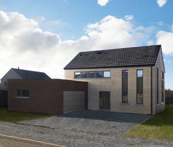 Façade d'une maison contemporaine à Welkenraedt
