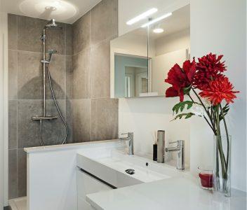 Détail de salle de bain dans une maison contemporaine